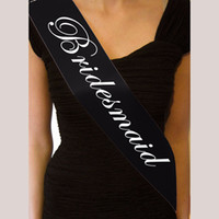 Wholesale fitted women wedding dresses online - Black Sash Bridesmaid Bride To Be Sashes For Wedding bachelorette Hen Party Favor Decor Girls Night Supplies Fit Women Dress as YY