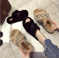 ingrosso la migliore pelliccia del coniglio-La migliore vendita brand new 2019 marca autunno inverno scarpe di pelliccia vera coniglio croce croce pantofole 36-40CM