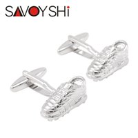 Wholesale shoes cuffs - SAVOYSHI Silver Shoe Shape Cufflinks for Mens Shirt Cuff Bottons Copper Materials Cuff Links Fashion Jewelry Accessories