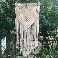 Wholesale Handmade Tapestries - Handmade Knitting Heart Tapestries Bohemian Macrame Woven Wall Hanging Tapestry Home Wedding Decoration 21 5cm C R