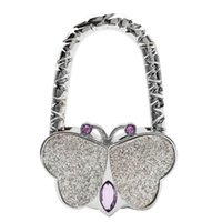 Wholesale Butterfly Hangers - Hot Selling Handbag Hook Charm Butterfly Womens Purse Holder Office Bag Hanger Gifts Wall Hanger Hooks Towel Hooks