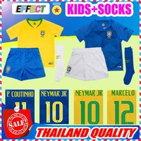 Wholesale Boys L - 2018 Brazil World Cup NEYMAR JR kids Soccer Jersey G.JESUS P.COUTINHO MARCELO DAVID LUIZ 18 19 Youth Full Kit With Socks Football Shirts