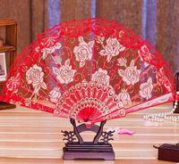 Wholesale lace fans flowers - Lace Fabric Silk Folding Hand Held Dance Fans Flower Party Wedding Prom