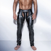 leggings negros para hombre al por mayor-Moda para hombre pantalones de cuero de imitación negro Pantalones largos Sexy y novedad Medias musculosas delgadas para hombre Leggings Slim Fit Tight Men Pantalón S18102001