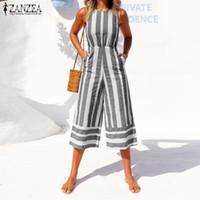 12314521603f Plus Size ZANZEA 2018 Summer Women Fashion Striped Jumpsuits Casual O Neck  Sleeveless Party Wide Leg Pants Rompers Combinaison