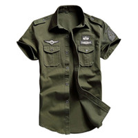 Wholesale work short sleeve online - Men S Cotton Cargo Shirts Casual Solid Short Sleeve Work Brand Pilot Shirt Military Camouflage Chemise Plus Size M xl