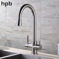 mezclador de filtro de grifo al por mayor-HPB Níquel cepillado Acabado 3 Vías Grifo de la cocina Filtro Grifo de agua 2 Funciones Mezclador de lavabo Agua fría y caliente 360 Rotación HP4303