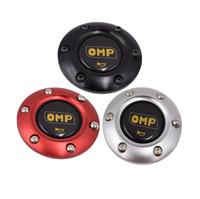siyah boynuz düğmeleri toptan satış-Evrensel Siyah OMP Araba Yarışı Direksiyon Korna Düğmesi Hoparlör Kontrol Kapak + Alüminyum Siyah / Kırmızı / Mavi Kenar