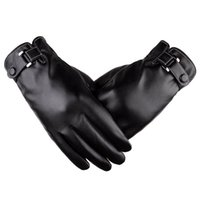 Wholesale baseball glove leather for sale - Group buy 2 Colors Men Spring Autumn And Winter Texting PU Leather Thicken Velvet Gloves Riding Cold Weather Gloves Support FBA Drop Shipping H916R