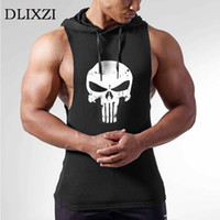 Wholesale hoodies vest clothes online - Dlixzi Men Sleeveless Hoodie Punisher Tank Top Street Workout Sweatshirts Fitness Wear Hooded Vest Man Gyms Bodybuilding Clothes