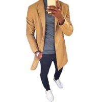 homens trincheira amarela venda por atacado-Moda Homens De Lã De Moda Amarelo 2018 Casaco Trench Coat Casaco Quente Engrosse De Lã Turn-Down Collar Single-Breasted Sobretudos