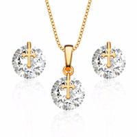 ingrosso set di gioielli in zircone-New Fashion Zircon Wedding Jewellery Set orecchini ciondolo intarsiato di cristallo di lusso Sposa romantico Set di gioielli Gift.S20069
