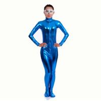 mavi lycra elbisesi toptan satış-Ensnovo Naylon Likra Parlak Metalik Balıkçı Yaka Bodysuit Mavi Unitard Kadınlar Tam Vücut Özel Cilt Suit Cosplay Parti Kostüm