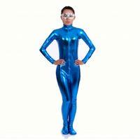 terno azul metálico do corpo venda por atacado-Ensnovo Nylon Lycra Metálico Brilhante Gola Alta Bodysuit Azul Unitard Mulheres Corpo Inteiro Personalizado Terno Da Pele Cosplay Traje Do Partido