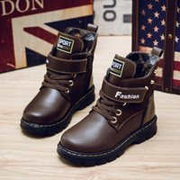 d5e28c6ec1e 2019 autumn and winter new Korean children s warm high-top leather Martin  shoes boots boys fashion casual running shoes boots cool