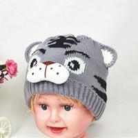 Wholesale crochet knit hat patterns - Fashion Autumn Winter Children Knitted Hat Animal Tiger Pattern Beanie Newborn Baby Kids Keep Warm Boy Girl Crochet Cap
