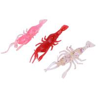 plastik karides toptan satış-5 adet 8 cm / 3.6g Simülasyon Yumuşak Karides Balıkçılık Lures Plastik Yemler Balıkçılık Yapay Yem Sahte Cazibesi aksesuarları 5 Renkler Mücadele