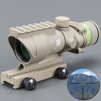 Wholesale green dot acog scope for sale - Group buy Trijicon ACOG Tan Color Tactical Style x32 Rifle Scope Red Dot Green Optical Fiber mm RaiL