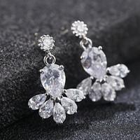 avize avize küpeleri toptan satış-Vintage Kristal Gelin Küpe Uzun Gümüş Dangle Düğün Küpe Gelin Takı Kübik Zirkonya Avize Küpe Gelin Aksesuarları
