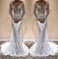Wholesale mermaid dress stones online - 2018 Sexy Deep V Neck Long Sleeves Lace Mermaid Evening Dresses Applique Beaded Stones Sweep Train Formal Party Prom Gowns Vestidos BA9809