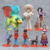 conjuntos de presente de filme venda por atacado-Filme dos desenhos animados COCO Figura Miguel Hector Rivera PVC Figuras Modelo Kids Toys Presente para Crianças 9 pçs / set B