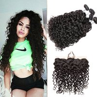 Wholesale Full Length Mink - Brazilian Ear To Ear Lace Frontal Closure With Bundles Wet And Wavy Mink Brazilian Hair Water Wave Bundles With Full Lace Frontals