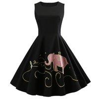 bordado de elefante al por mayor-Hepburn Vintage vestido de las mujeres de verano O-cuello elefante bordado sin mangas elegante Robe Rockabilly retro vestido de fiesta más el tamaño