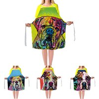 Wholesale Bbq Sizes - Lovely Bulldog Aprons Cute Dog Lady's Kitchen Cooking BBQ Bib Big Size Apron Dress Custom Home Cleaning Aprons For Man Woman