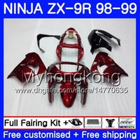 Wholesale 98 zx9r fairing red online - Body For KAWASAKI NINJA ZX900 ZX9 R ZX ZX R HM CC ZX R ZX9R ZX R Fairing Wine on sale red kit