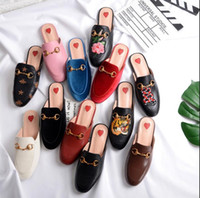 Wholesale denim blue ladies shoes online - 33 Luxury leather loafers Muller slipper shoes with buckle Fashion women Princetown slippers Ladies Casual Mules Flats New 2