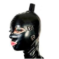 máscaras sexy de látex venda por atacado-2018 sexy lingerie design sexy produtos femininos mulheres handmade unisex máscara de Látex Top tubo de cabelo Capuzes voltar zipper Fetiche plus size