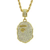 Wholesale diamond snake pendant necklace - Tide brand APE head AAA+ Pendant Necklace Bracelet Gold Black Gun Plated Alloy diamond Fashion Jewelry for Women Men Hip Hop Necklace