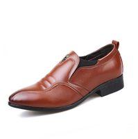 ingrosso abito da sera navy-2018 Nuovi uomini Business Dress Shoes Fashion Classic Slip-on appartamenti in vera pelle formale ufficio festa matrimonio maschio scarpe oxford