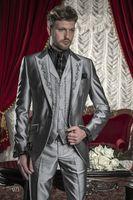 Gwenhwyfar 2018 Embroidery Groomsmen Tuxedos (Jacket+Pants+Vest) Sliver Groom Wedding Men Suit Set Prom Mens Suits Blazers Costume Homme