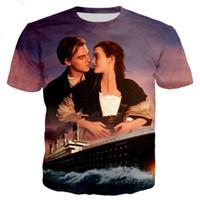 camiseta da rosa 3d venda por atacado-Filme Titanic Jack e Rose Mulheres Homens Nova Moda Verão Unisex Engraçado 3d Impressão Crewneck Casual T Shirt Tops Tee Q75