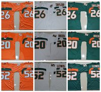Wholesale lewis black - Vintage Miami Hurricanes College Football Jerseys 26 Sean Taylor 52 Ray Lewis R.Lewis 20 Ed Reed University Football Shirts Cheap