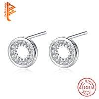 ingrosso orecchini di apertura-BELAWANG 100% argento sterling 925 Clear CZ cerchio openwork orecchini per le donne ragazze gioielli minimalista accessori moda regali