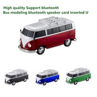 Wholesale car shape mini mp3 player - High quality colorful mini bluetooth speaker car shape mini bus speaker support FM U disk Insert Card mini speaker MP3 player