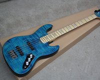 Wholesale guitar bass maple - Factory Custom Blue 4 Strings Electric Bass Guitar with Flame Maple Veneer,Transparen Pickguard,Chrome Hardware,Maple Neck,Can be Customized