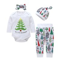 neugeborene erste kleidung großhandel-2018 My First Christmas Neugeborenen Kleidung Sets Säuglingskleidung Body Langarm + Pant Hut Stirnband 4pcs / set Herbst 0-18months