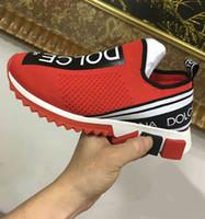 ingrosso le suole delle signore-HOT Branded Men Tessuto Stretch Jersey Sorrento Slip-on Sneaker Designer Lady in gomma bicolore Micro Suola scarpe casual traspirante