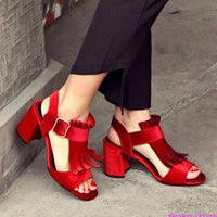 Wholesale High Ankle Gladiator Sandals - Women fashion tassel Sandals Open Toe Chunky High Heels Floral Ankle Strap Suede Pumps Fashion Ladies Party wedding Shoes