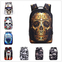 bolsas de hombro esqueleto al por mayor-Esqueleto 3D Skull Casual Travel Shoulder Bag Hombres y mujeres Deportes Waterproof Backpack School Mochila Bookbag