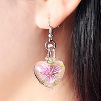 silber murano kreuz großhandel-Grenzüberschreitende euramerikanischen Stil Ae Mode Murano Glasur kreative herzförmige leuchtende Ohrringe Mädchen Lieblings Accessoires