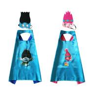 Wholesale blend mask - HOT Trolls Capes Double Layer Cape and masks Capes + masks Children Kids Capes Cosplay 70*70CM 1 set=cape+cape=2 pcs
