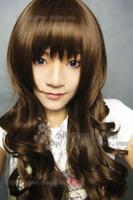 longo luz marrom perucas venda por atacado-100% cabelo real! Nova Moda Longa Marrom Luz Cosplay Ondulado Peruca Encaracolado Frete grátis New High Quality Moda peruca