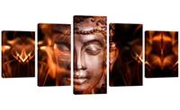 paneles de arte de pared de buda al por mayor-5 Paneles Cara de Hierro Imagen de Buda Impreso Lienzo Abstracto Pintura Arte de la pared en la lona para la decoración casera estirada enmarcada