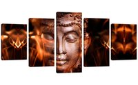 ingrosso tela di pittura astratta di vernice-5 pannelli in ferro faccia immagine di Buddha stampato su tela astratta pittura su tela per la decorazione domestica allungato incorniciato