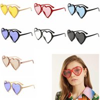 Wholesale vintage heart shaped glasses - 8Colors Solid Heart Shaped Sunnies Sunglasses Women Brand Designer Retro Vintage Fashion Cat Eye Sun Glasses outdoor eyewear GGA624 12PCS