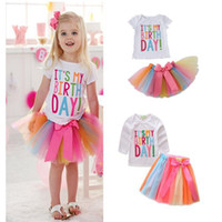 Wholesale bow tie t shirt - Toddler Kids baby birthday clothing set Girls Summer Clothes Its my birthday Tees T shirt Tulle skirts with bow tie for girls